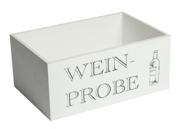 Kiste Holz 30x20x13cm Weinprobe, weiß wash