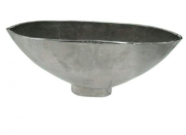 Schale Alu antik 50x11x27cm auf Fuß, silber