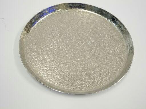 Teller Metall D27cm gehämmert vernickelt, silber