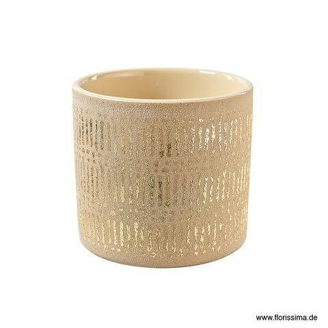 Kübel Keramik D13,5H13cm Rillen, sand