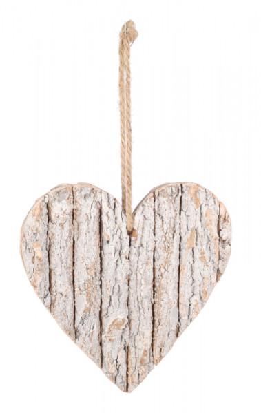 Herz Holz 25cm Rindenstreifen, weiß wash