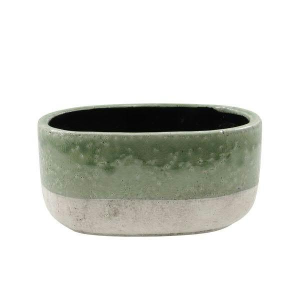 Jardiniere Keramik 23x12x11cm, grün-creme