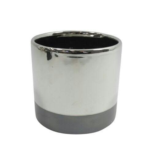 Kübel Keramik D14H13cm rund, silber