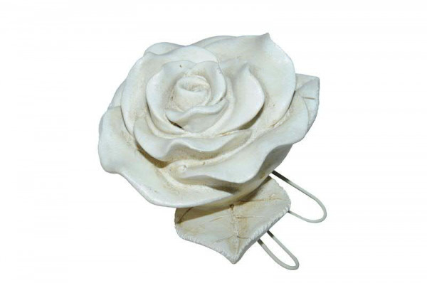 Rose Poly 12x11x6cm m.Draht Trauer, creme
