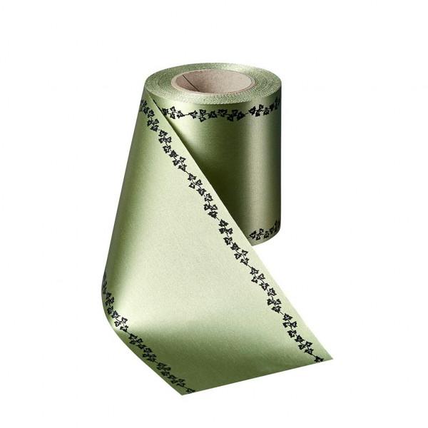 Kranzband 06739/200mm 25m Satin Efeurand schwarz, 079 hellgr