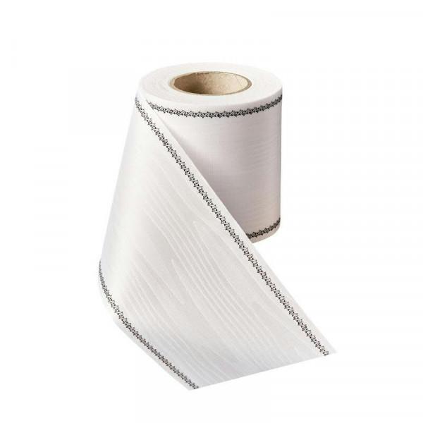 Kranzband 01079/175mm 25m Moire Efeurand schwarz, 001 weiß