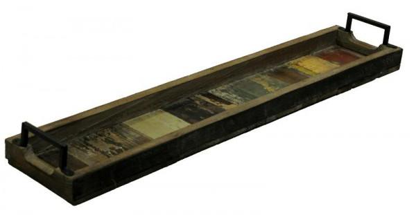 Tablett Holz tablett holz 79x16x4cm m metallgriff bunt holztabletts holz
