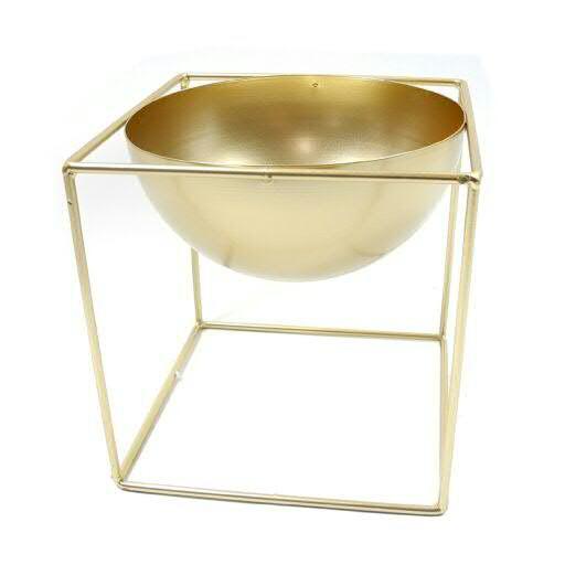 Schale Metall 21x21x21cm auf Stand, gold
