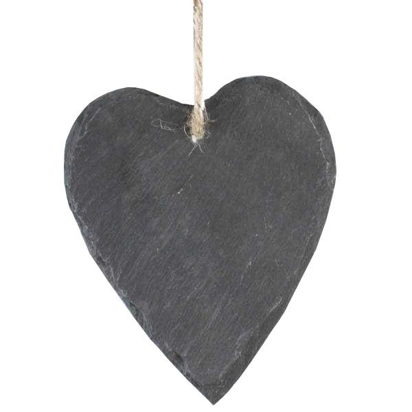 Herz Schiefer 12x14cm z.Hängen, grau