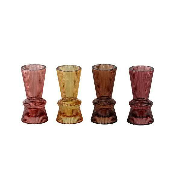 Glas Kerzenhalter 6x12cm gelb/rot/orange/rose Monatsangebot, ge/or/r/rs