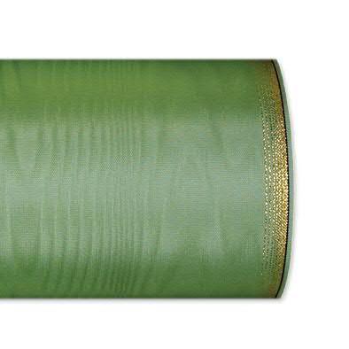 Kranzband 6694/125mm 25m Moire Goldrand, 606 h.grün