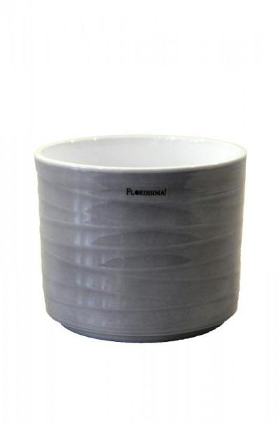 Kübel Keramik 993/14cm Wave, Lasur grau