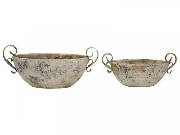 Jardiniere Keramik 34x16x15cm, creme/weiß