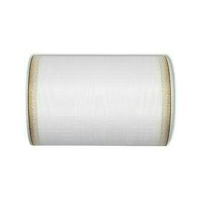 Kranzband 6693/150mm 25m Moire Goldrand, 611 weiß