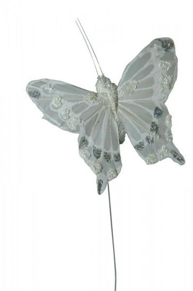 Schmetterling 12St.9/20cm am Draht Stecker, weiß
