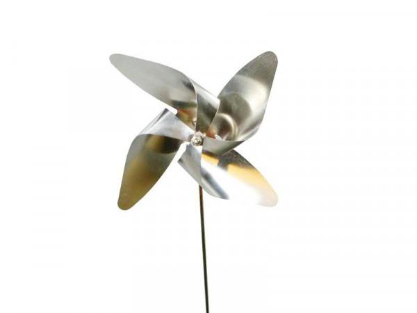 Windrad Edelstahl 12x30cm Silber Windspiele Räder Metall