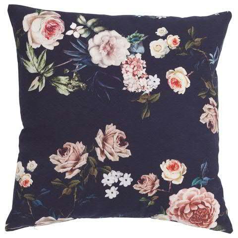 Kissen 45x45cm Rosen, blau/rosa