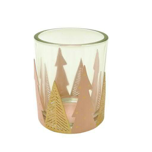 Teelicht Glas/Metall 8x8cm mit Tanne, pink/gold