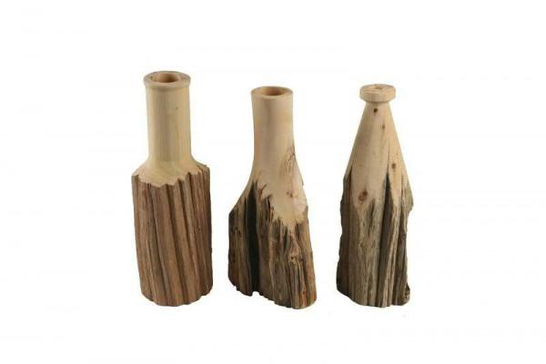 Vase Holz SP 35x12-14cm mit Rinde sortiert, natur