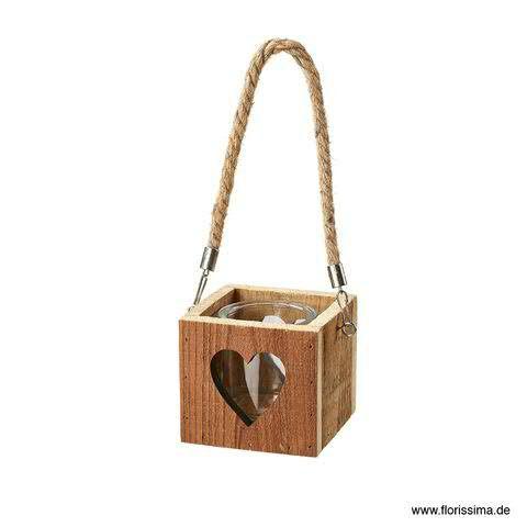 Windlicht Holz 11x11x10/23cm z.Hängen mit Glaseinsatz Herzausschnitt, natur