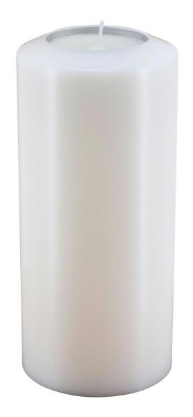 Lux Classic D10H21cm Teelichthalter für Maxi Teelicht, weiß