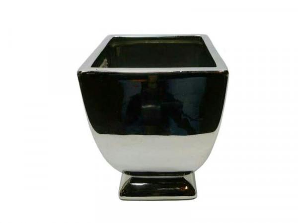 Pokal Keramik 11x15cm Malta eckig, silber