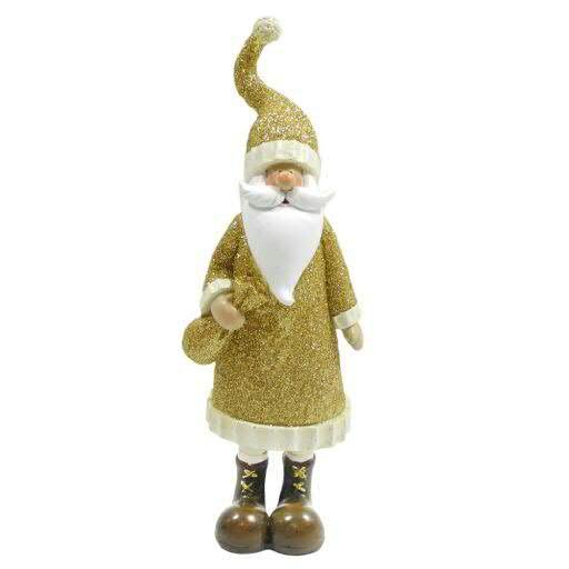 Santa Poly 5x4x18cm mit Glitter, gold
