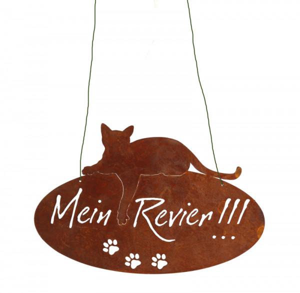 Rost Schild Katze Mein Revier 40x26cm oval