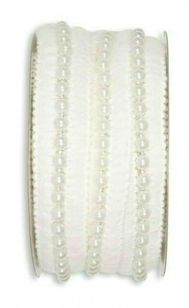 Litze 24023/25mm 5m m.Perlen, 11 weiß