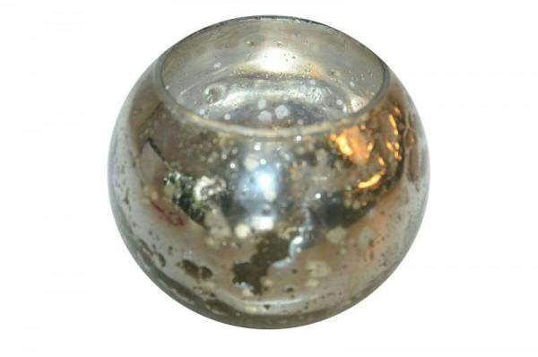 Glas Windlicht D10cm, silber