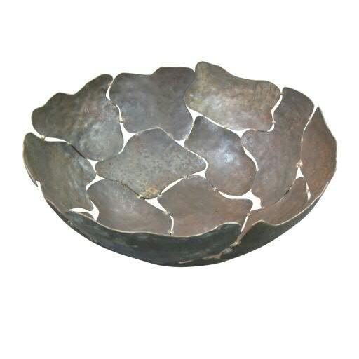 Schale Metall SP D37H15cm, braun/rost