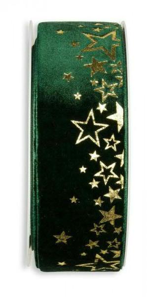 Band Samt 657/38mm 6m Sterne, 32 d.grün