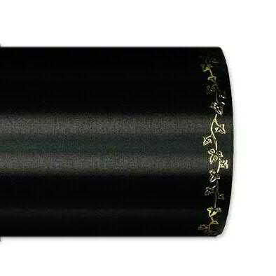 Kranzband 2505/125mm 25m Satin Efeurand gold, 100 schwar