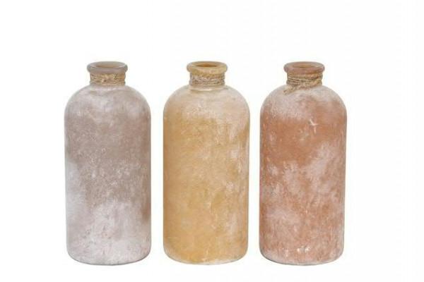 Flasche Glas 11x11x25cm Aktionspreis taupe/apricot/orange, ta/apr/ora