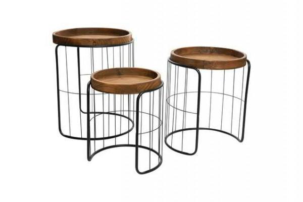 Tisch Holz S/3 34,5x42,5/40x48/46x55cm mt Metallrahmen, braun