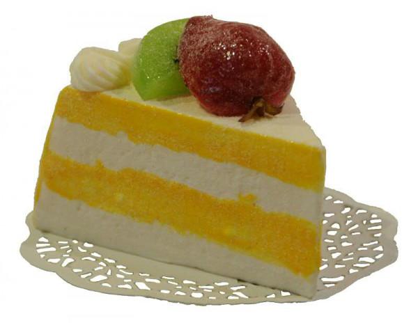 Tortenstück L11H8cm Zitrone, gelb/weiß