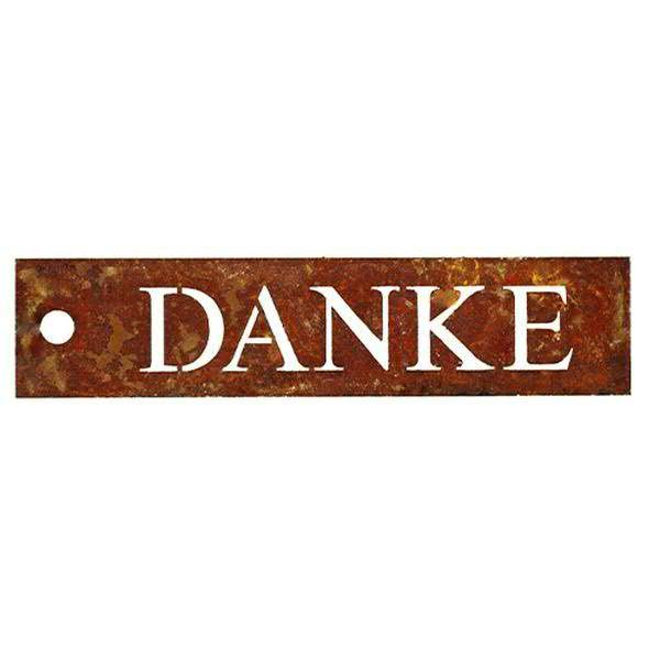 Rost Schild 2x9,5cm Danke