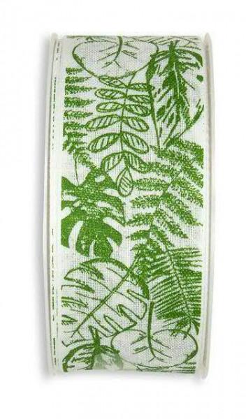 Band 782/40mm 18m Blätter, 11 wß/grün