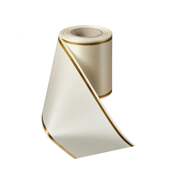 Kranzband 06508/100mm 25m Satin Goldrand, 003 natur