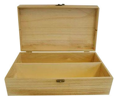 Flaschenbox Holz 35x20x10cm f.2Flasche, hell