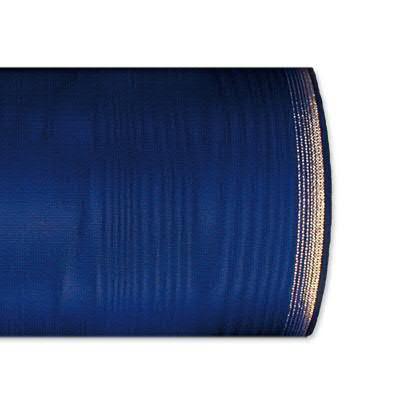 Kranzband 6694/100mm 25m Moire Goldrand, 631 d.blau