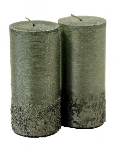 Stumpenkerzen Calla 130/60 gegossen, tannengrün
