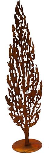 Rost Zypresse H200cm mit Ausschnitten mit Rohr