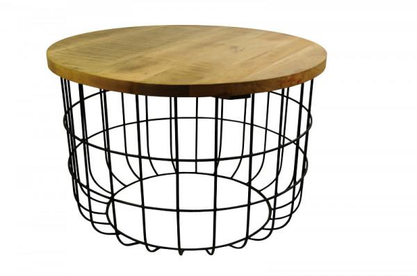 Tisch Metall 75x50cm mit Holzdeckel, schw/natur