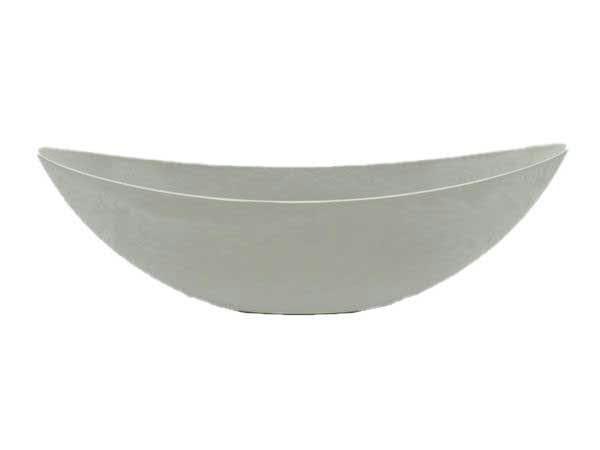 Schiffchen Kunststoff 39x13cm oval, grau-weiß