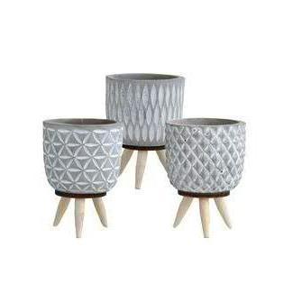 Kübel Zement D12H18cm auf Holzfüßen, grau/creme