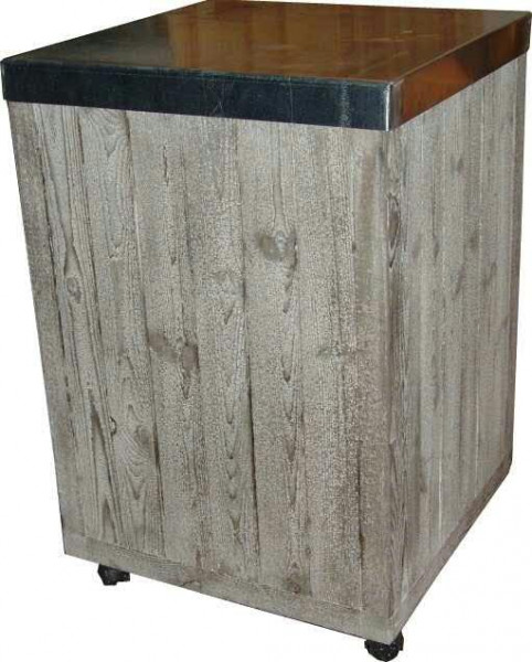 Säule Holz SP 75x50x50cm a.Rollen+Zink, old pine