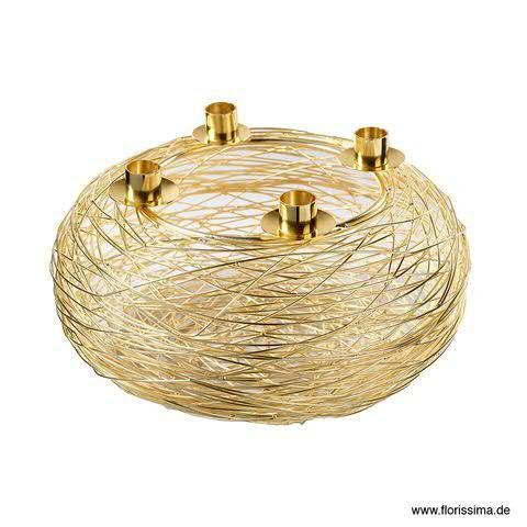Kranz Metall D30H16,5cm für 4Kerzen, gold