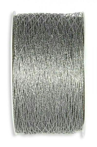 Band 2210/40mm 15m Stretch-Gitter, 211 silber