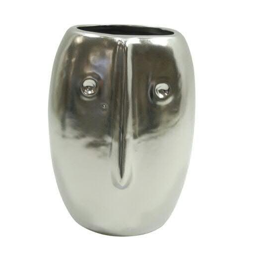 Vase Keramik D15H19,5cm mit Gesicht, silber